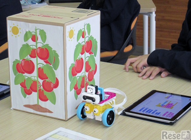 「ミニトマトの収穫作業の自動化」がテーマ。机の中央にある箱をミニトマトとして実習は進む