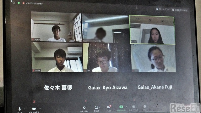 インタビューに応じた生徒たち。上段左から小峰新汰さん(中1)、磯邉利沙子さん(中1)、下段左から堀内文翔さん(中2)、福本暖さん(中2)、Mさん(中2)